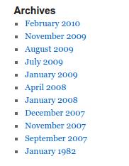 Llista estàndar dels arxius del blog
